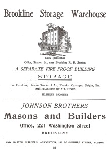 Johnson Brothers Advertisement in Brookline Directory (1890's)