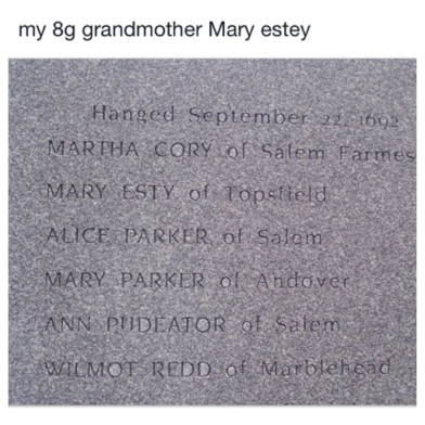 Facebook post on New Brunswick Genealogy regarding Mary Esty.